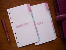 PERSONAL Size Monthly DIVIDERS - 'Pastel' #693 - Fits Filofax - 12 tabs