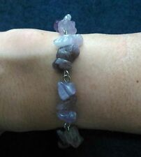 """Purple amethyst stone bracelet with stainless steel lobster clasp and pins 7.5"""""""