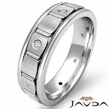 Round Diamond Eternity Wedding Ring Center Brushed Mens Band Platinum 0.15Ct