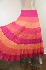 Tiered Patchwork Stripe Full Maxi Skirt SZ 6 Peasant Gypsy Pink Orange Coral