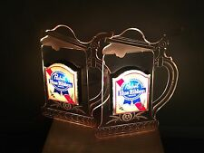 Pair of Vintage Pabst Blue Ribbon Frosted Beer Mug Lighted Signs. COOL!!!