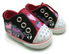 "Black Heart Slip on Canvas Tennis Shoes made for 18"" American Girl Doll Clothes"