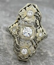 Art Deco Antique Estate Filigree Diamond 18K White Gold Floral Cocktail Ring