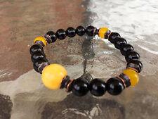 8 mm Jade Black and Yellow Calcite Prayer Beads Handmade Mala Beads Bracelet