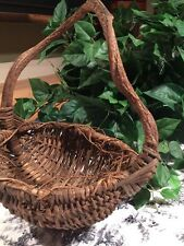 Basket Primitive Rustic Curved Handle Twigs Country Farmhouse