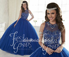 Royal Blue Beaded Prom Formal Evening Gown Princess 15Y Quinceanera Dress custom