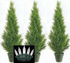 3 CEDAR IN OUTDOOR 3' TOPIARY TREE PLANT ARTIFICIAL BUSH WITH CHRISTMAS LIGHTS