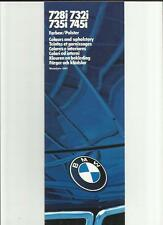 BMW 7 SERIES COLOURS & UPHOLSTERY BROCHURE 1983 1984 MULTILINGUAL INC.ENGLISH