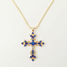 New Aqua Blue Crystal Holly Cross Charm Chain Good Fortune Necklace Gift NE1450