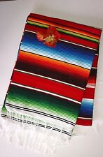 "Mexican Blanket Red Serape X-LARGE Saltillo classic multi color throw 60"" x  84"""
