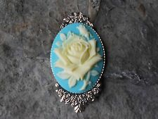 GORGEOUS PALE YELLOW ROSE CAMEO BROOCH- PIN- (AQUA BLUE) - FLORAL, ROSE BUD