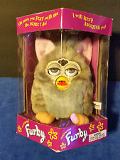 Vintage Original Furby Electronic Toy Gray with Pink Ears, Yellow Feet,
