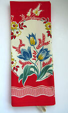 Vintage Floral Kitchen Tea Dish Towel Red Blue Yellow Flowers Tulips Daisies