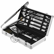 VonHaus 18 Piece Stainless Steel BBQ Utensil Set + FREE Aluminium Carry Case