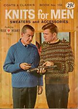 Coats Clark 134 Knits for Men Patterns Sweaters Vest Socks Gloves Scarf Cap 1962
