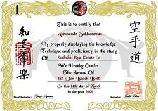 Certificate  A4 or A3 Martial Arts Karate ( Novelty )