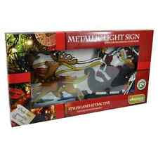 Christmas Metallic Effect Light Up SANTA AND SLEIGH /Window/Silhouette/Lights