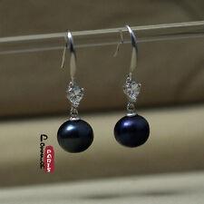 Boucles d`Oreilles Perle de Culture Gris Noir Argent 925 Ovale 9mm-10mm Coeur
