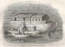 A5044 Barca di pescivendoli in Russia - Xilografia - Stampa del 1843