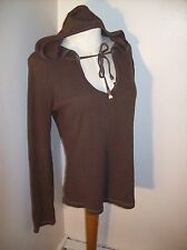 "Brown Thermal Hoodie XL/38"" Bust V-Neck w/Ties Cotton Blend Be Warm w/Style EUC"