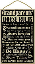 """GRANDPARENTS' HOUSE RULES Primitive Wood Hanging Sign 10"""" x 16"""""""