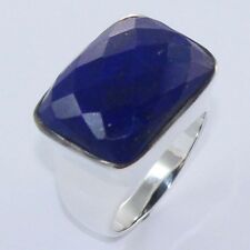 Natural Fine LAPIS LAZULI Gemstone 925 Solid Sterling Silver Nice Ring Size US 8