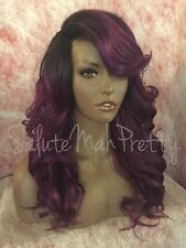 "100% Human Hair Blend 20"" Loose Curls Deep Realistic Part Lace Front Wig"