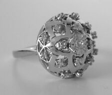 Vintage 14K White Gold Old Mine Diamond Sputnik Ring HEAVY 10.2Gr Size 8.5