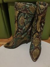 Vintage Size 7 Adobe Made In Paris France Snakeskin Boots Green Gold Brown