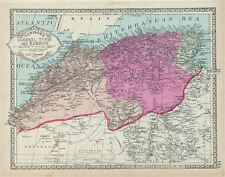 1886 ALGERIA antique original Tunison map  HAND COLORED