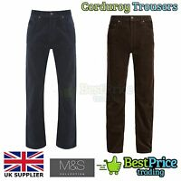 Marks & Spencer Mens Cotton Corduroy Cord Trousers *NEW Navy Blue Or Brown *M&S