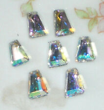 #1357 Vintage AB Cabochons Aurora Borealis 6x5mm Trapezoid Western Germany