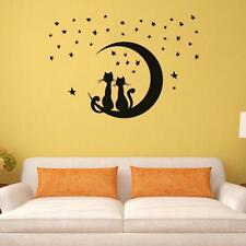 DIY Two Cats Sitting on Moon with Stars Vinyl Wall Sticker Home Bedroom Decal