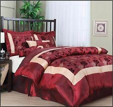 King Size Bedding Comforter Set 7 Piece Burgundy Luxury 2 Shams Bedskirt Angela