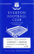 Everton v. Arsenal 26th December 1962 POSTPONED