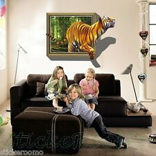 TIGER 3D POSTER WINDOW CHILDREN'S ROOM WALL ART STICKERS VINYL HOME DECORATION