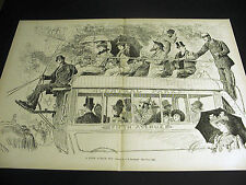 Reinhart FIFTH 5th AVENUE BUS to CENTRAL PARK NYC 1891 Large FINE Folio Print