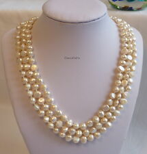 Silver Genuine 7-8mm  baroque freshwater pearl 3 strands necklace white