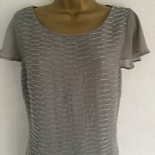 MONSOON By Accessorize Size 12 Light Grey Beautiful Beaded Top Blouse