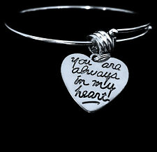 You are always in my heart   Love  Heart Charm Bracelet   Lovers jewelry gift