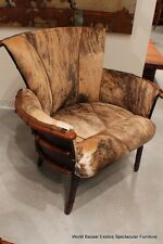 "44"" W club chair hide light brindle italian leather solid wood frame masterful"