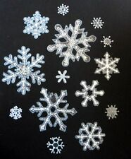 Christmas Window Clings - Silver Glitter Snowflakes - Approx 12 Stars - DESIGN A