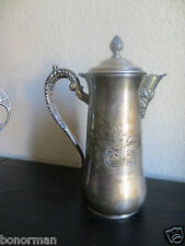ANTIQUE VICTORIAN  SILVER  PLATE WEBSTER TEA POT HAND ENGRAVED