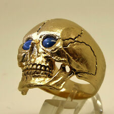 14K SOLID YELLOW GOLD 31 Grams SKULL SAPPHIRE RING BIKER MAN HARLEY MASONIC SIZE