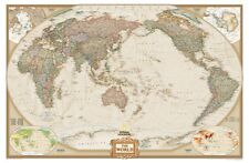 Pacific Centered World Executive Map - Enlarged Paper