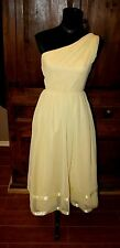 vintage 60s Bianchi Yellow one sleeve dress chiffon  XS/S BEAUTY garden party
