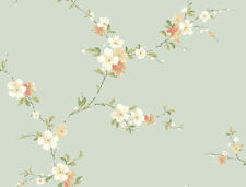 Wallpaper Designer Floral Pink Peach White Tan Blossom Trail on Pale Blue