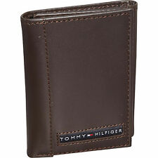 Tommy Hilfiger Mens Brown Leather Cambridge Trifold Passcase Wallet in Gift Box