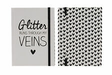 A6 Hard Back Lined Notebook with Glitter Runs Through My Veins Slogan