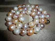 "Huge 10-11mm Multi Color Freshwater Cultured Baroque Pearl Necklace 18"" 14K GP"